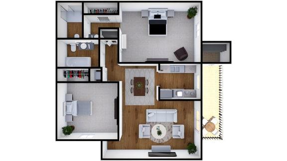 Floor Plan  Two Bedroom Two Bath