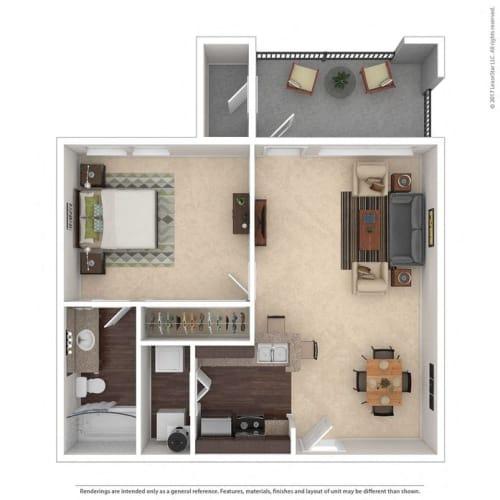 Floor Plan  A1 1 Bed 1 Bath floor plan