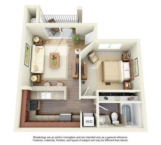Floor Plan  1 BED 1 BATH - A1 floorplan