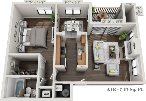 Floor Plan  A1R-One Bedroom One Bath floorplan