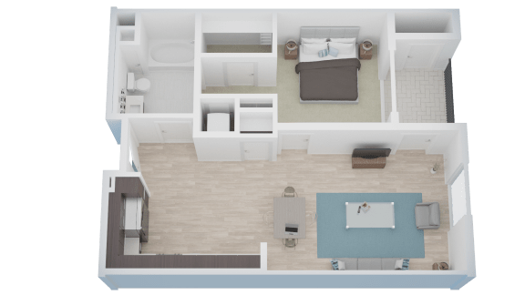 Floor Plan  1 BED 1 BATH - A2 floorplan