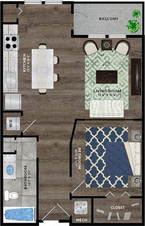 Floor Plan  1 Bedroom A1, 1 bath floor plan