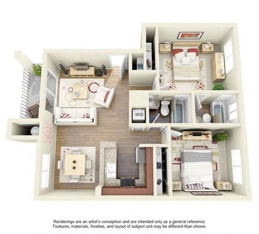 Floor Plan  2 BED 2 BATH - B1 floorplan