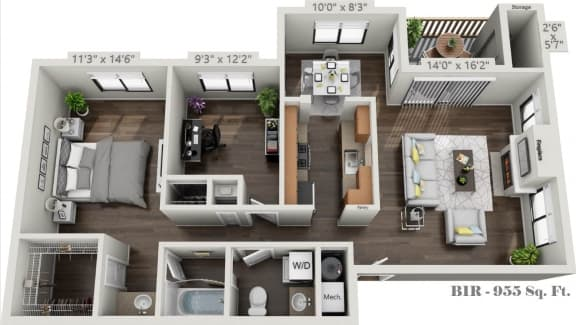 Floor Plan  B1R-Two Bedroom One Bath floorplan