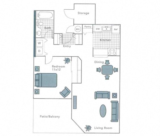 Floor Plan  Sapphire, 1 br, 1 ba
