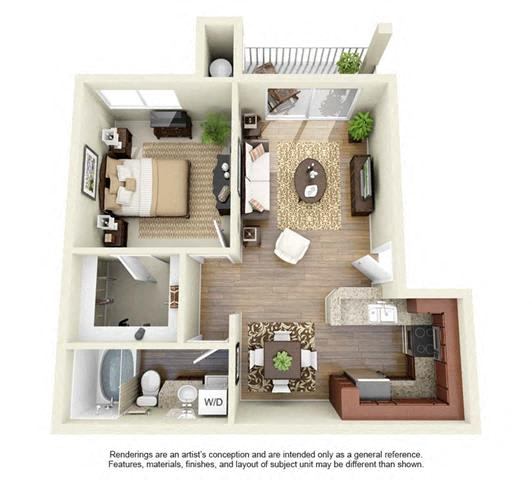 Floor Plan  1 BED 1 BATH - A2R floorplan