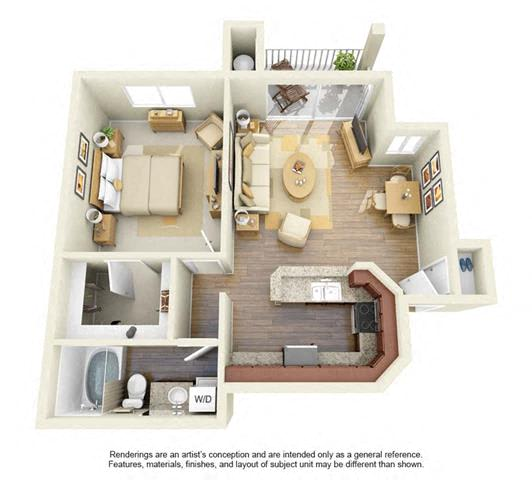 Floor Plan  1 BED 1 BATH - A3 floorplan
