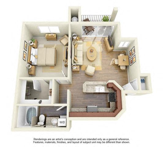 Floor Plan  1 BED 1 BATH - A3R floorplan