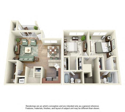 Floor Plan  2 BED 2 BATH - B2 floorplan