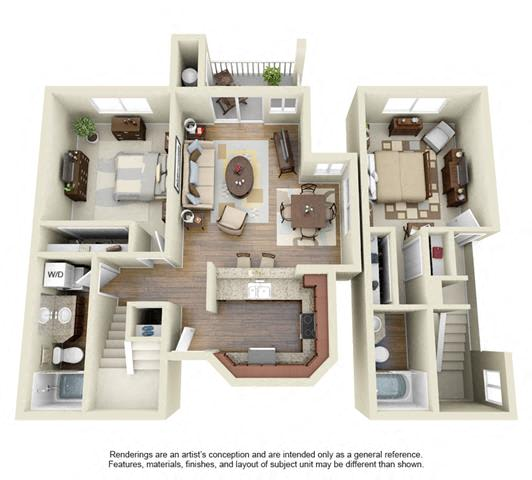 Floor Plan  2 BED 2 BATH - B3R floorplan