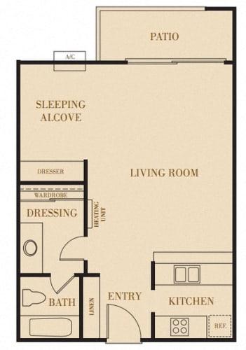 Floor Plan  The Fieldstone, Studio, 1 ba