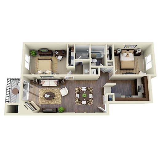 Floor Plan  Filoli Espresso A1, 2 Bed 2 Bath 1061 SQ.FT. floor plan