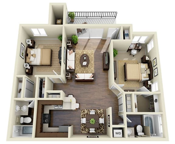 Floor Plan  Napa Valley Espresso A1 2 Bed 2 Bath 923 SQ.FT. floor plan