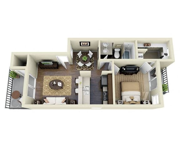 Floor Plan  Pier Latte A1 1 Bed 1 Bath 610 SQ.FT. floor plan