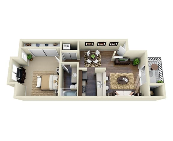Floor Plan  Santa Cruz Espresso A1 1 Bed 1 Bath 722 SQ.FT. floor plan