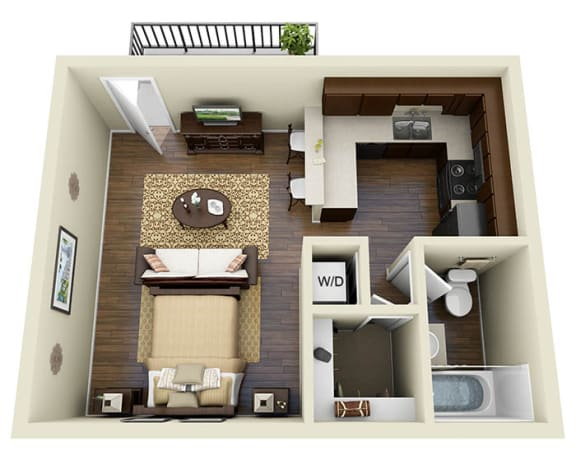 Floor Plan  Yosemite Latte, Studio 1 Bath 458 SQ.FT. floor plan