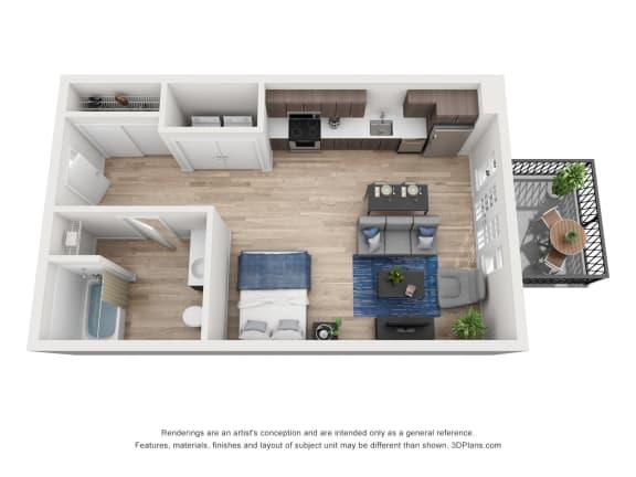 Floor Plan  North Hollow Apartments A3 Floor Plan
