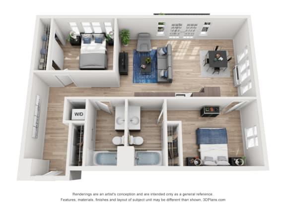 Floor Plan  North Hollow Apartments D1 and D2 Floor Plan