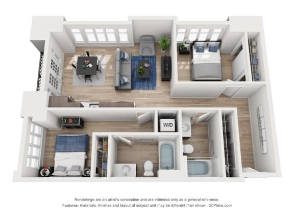 Floor Plan  North Hollow Apartments D3 Floor Plan