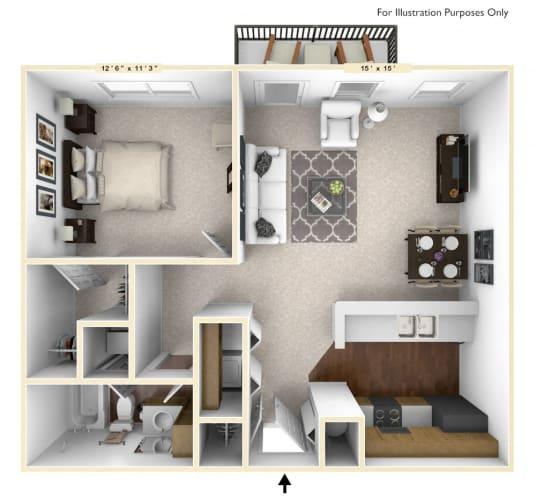 Floor Plan  The Lancaster - 1 BR 1 BA Floor Plan at Brickshire Apartments, Indiana