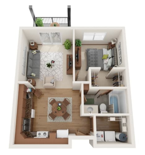 Floor Plan  1 bedroom 3D layout