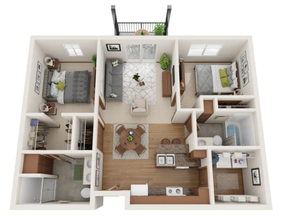 Floor Plan  Two bedroom 2 bath 3D floorplan