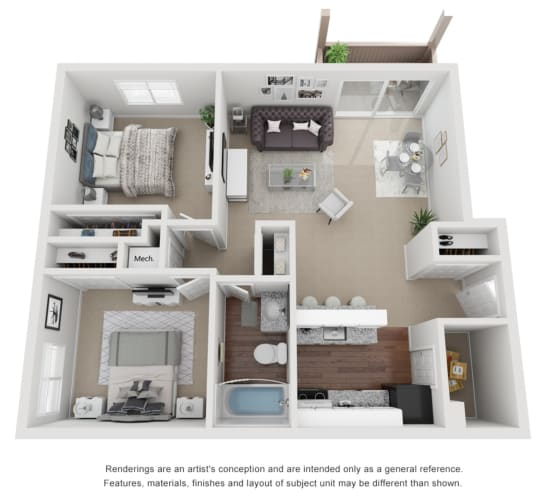 Floor Plan  2 Bed 1 Bath 800 sq ft 3D floor plan.