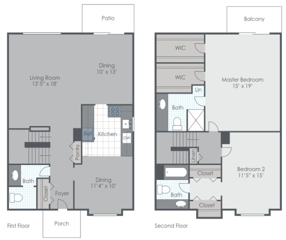 Floor Plan  2 Bedroom 2.5 Bath Townhome floor plan image