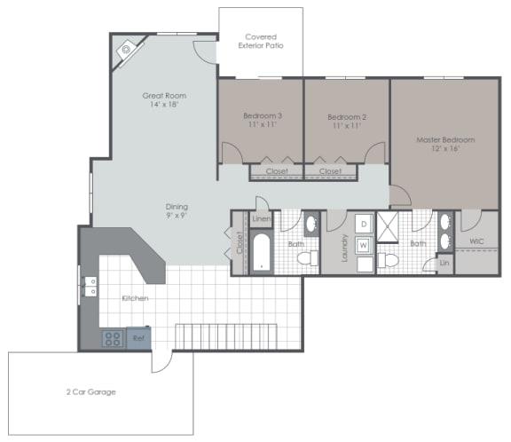 Floor Plan  3 Bedroom 2 Bath floor plan layout