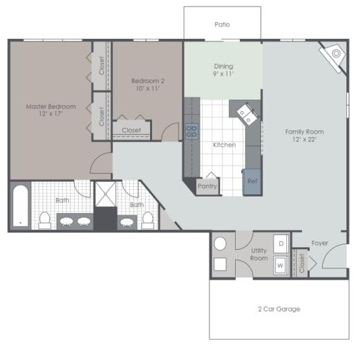 Floor Plan  2 Bedroom 2 bath floor plan layout