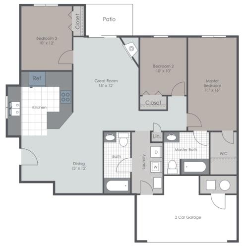 Floor Plan  3 Bedroom 2 Bath layout