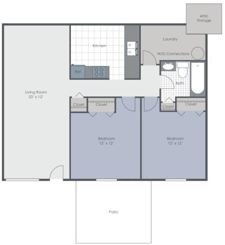 Floor Plan  2 Bedroom 1 Bath floor plan image 864 sq ft