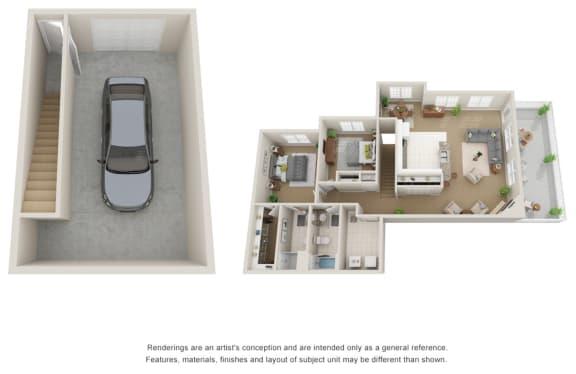 Floor Plan  Two bedroom, two bath 3D floor plan with garage.
