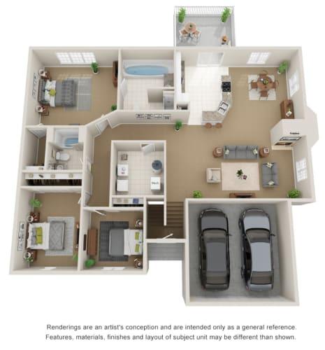 Floor Plan  3 bed, 2 bath 3D floor plan.