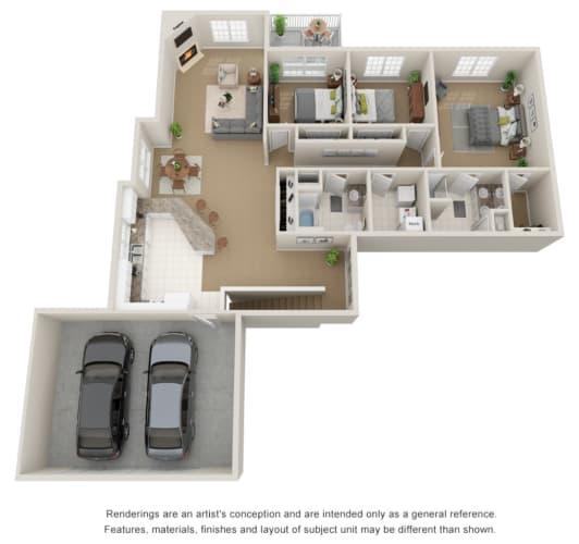 Floor Plan  Three bed, two bath 3D floor plan with garage.
