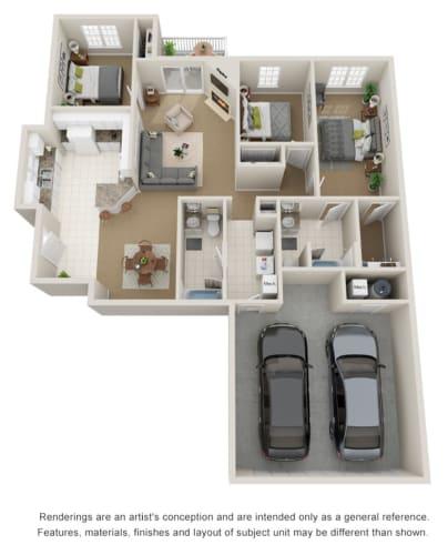 Floor Plan  Three bed, two bath 3D floor plan.