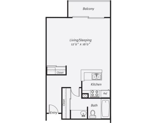 Floor Plan  studio floor plan one bath  570 square feet
