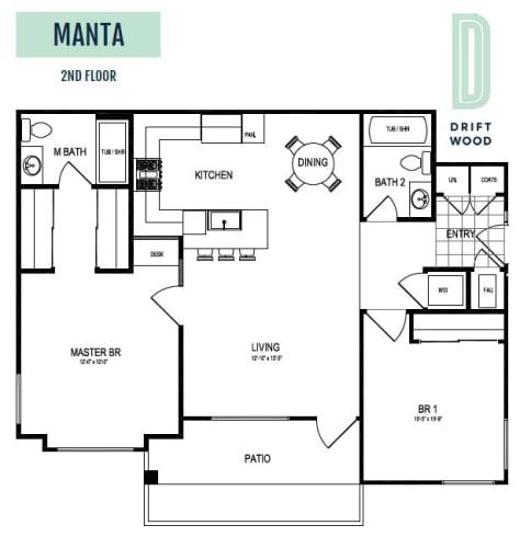 Floor Plan  Manta 2nd Floor - 2 Bedroom 2 Bath Floor Plan Layout - 1025 Square Feet