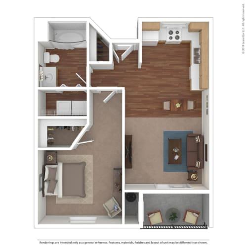 Floor Plan  Rose Cove 1 Bedroom Floor Plan Image