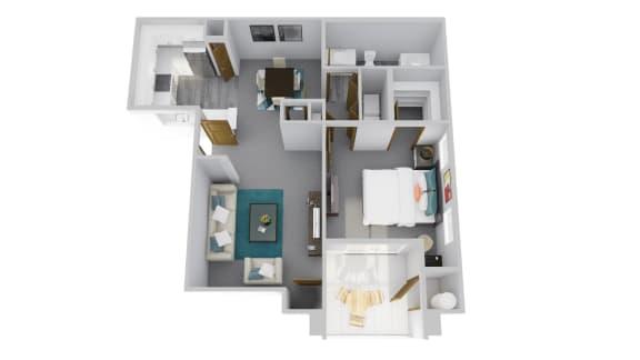 Floor Plan  Zone Apartments Cardinal 3D Floor Plan