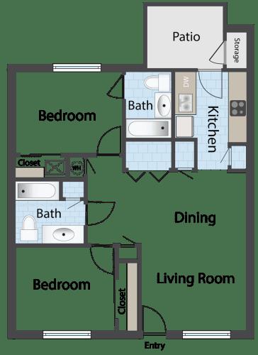 Floor Plan  Steeple Chase Apartments 2x2 Floor Plan