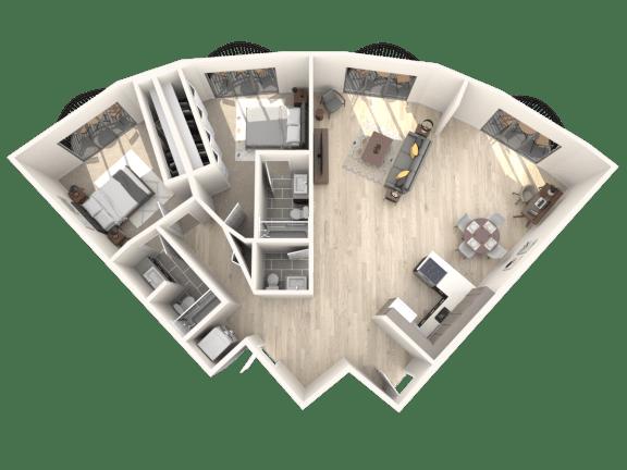 Floor Plan  Tower801 2x2.5 Floor Plan