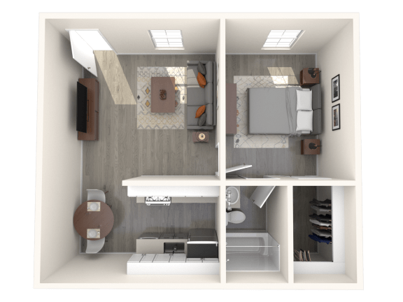 Floor Plan  SITE Scottsdale Apartments A1 3D Floor Plan