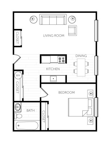 Floor Plan  Beacon View One Bedroom One Bathroom Extra Large Floor Plan