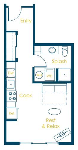 Floor Plan  CREW Apartments Durham Floor Plan