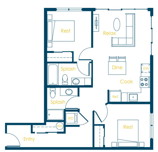 Floor Plan  CREW Apartments Imperial Floor Plan