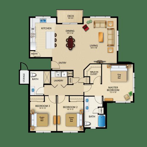Floor Plan  The Woodlands Luxury Townhomes Foxglove Floor Plan