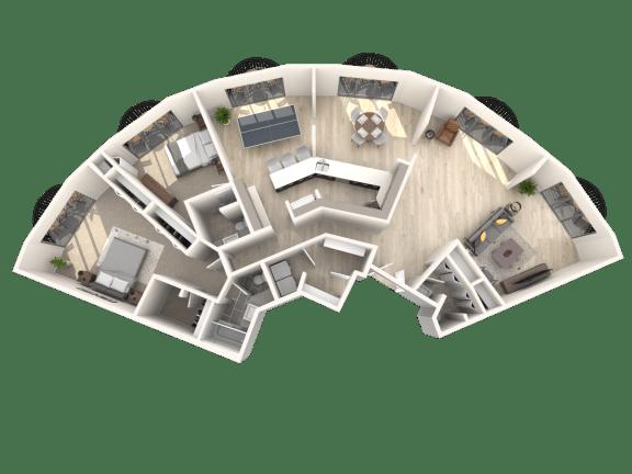 Floor Plan  Tower801 2x2.5 Pent House B Floor Plan