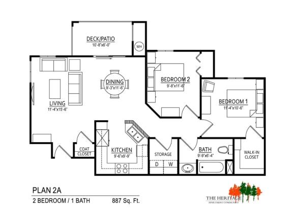 Floor Plan  The Heritage Apartment Community 2A Floor Plan