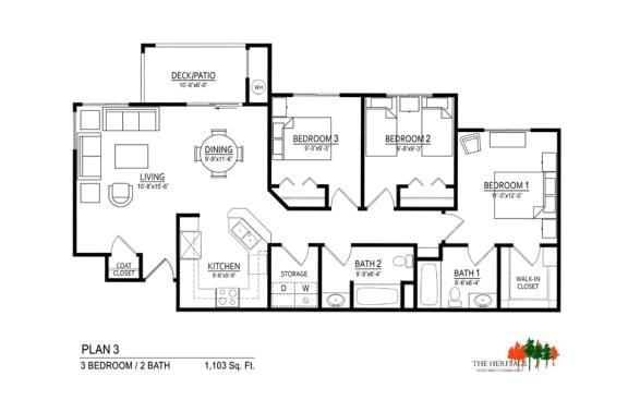 Floor Plan  The Heritage Apartment Community 3A Floor Plan
